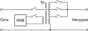Подключение нагрузки к сети через автотрансформатор с переключаемыми отводами обмотки