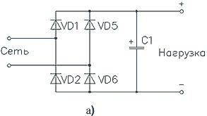 Однофазный выпрямитель со сглаживающей емкостью (а)