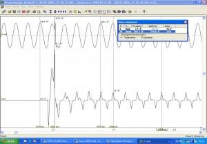 Рис. 6. Включение осциллографа при работе ИБП в сетевом режиме