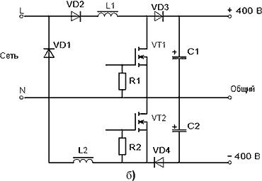 ККМ с дифференциальным выходом: двумя дросселями (б)